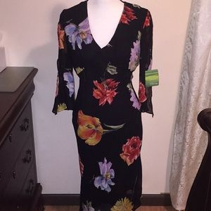 "Citrine black floral dress. Size 8. NWT. 48"" long."
